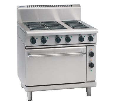 Waldorf 800 Series 900mm Electric Range Static Oven Low Back Version with 4 Electric Burners and 300mm Griddle Plate
