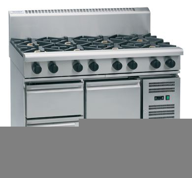 Waldorf 800 Series 1200mm Gas Cooktop Low Back Version  Refrigerated Base with 2 Burners and 900mm Griddle Plate