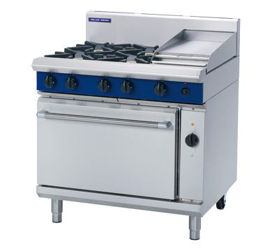 Blue Seal Evolution Series 900mm Gas Range Electric Convection Oven with 4 Burners and 300mm Griddle Plate