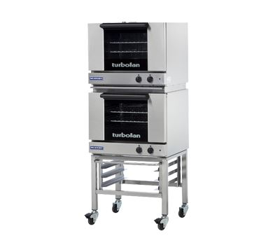 Turbofan Double Stacked Half Size Tray Manual Electric Convection Ovens With Castor Base Stand