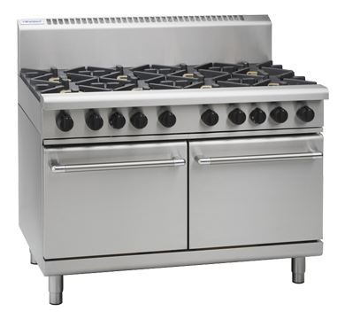Waldorf 800 Series 1200mm Gas Range Double Static Oven Low Back Version with 2 Burners and 900mm Griddle Plate