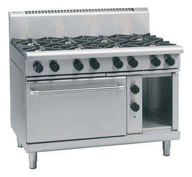 Waldorf 800 Series 1200mm Gas Range Electric Static Oven Low Back Version with 2 Burners and 900mm Griddle Plate