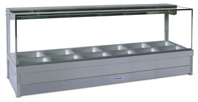 Roband S26 Square Glass Hot Food Display Bar 12 Pans - Double Row