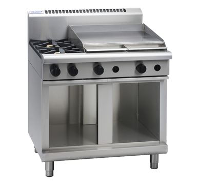 Waldorf 800 Series 900mm Gas Cooktop  Cabinet Base with 2 Burners and 600mm Griddle Plate