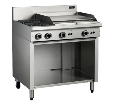 Cobra C9B - 900mm 2 Burners and 600mm Gas Griddle Plate - Open Cabinet Base