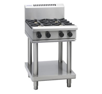 Waldorf 800 Series 600mm Gas Cooktop Low Back Version  Leg Stand with 2 Burners and 300mm Griddle Plate