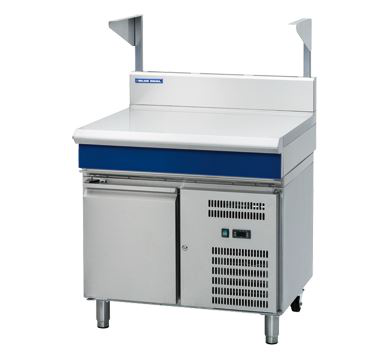 Blue Seal Evolution Series 900mm Bench Top With Salamander Support  Refrigerated Base