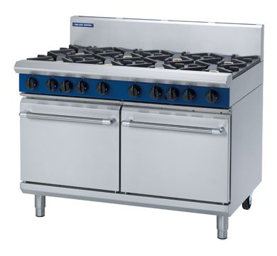 Blue Seal Evolution Series 1200mm Gas Range Double Static Oven 8 burners cooktop
