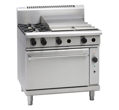 Waldorf 800 Series 900mm Gas Range Convection Oven Low Back Version with 2 Burners and 600mm Griddle Plate