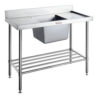 Simply Stainless SS05.1200.R Single Sink Bench With Splashback (600 Series) - 1200mm