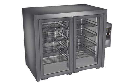 Culinaire CR.BB.U.AG.RC.PC.2 Two Door Black Finish Horizontal Back Bar Refrigerator with Right Hand Service Compartment