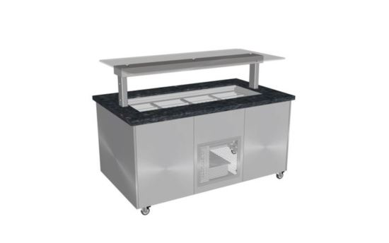 Culinaire CR.IBGS.CWCF.U.GSF.3 Three Module Stone Top and Stainless Steel Panels Refrigerated Island Buffet