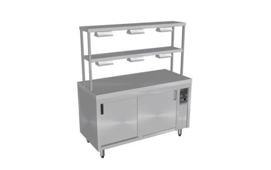 Culinaire CH.HC.I.GDD.3 Three Module Island Hot Cupboard with Double Gantry and Heat Lamps to Top & Bottom Shelves