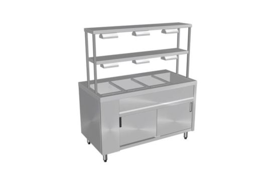 Culinaire CH.BMHP.I.GDD.3 Three Module Pass Through Bain Marie Hot Cupboard Island Model with Double Gantry & Heat Lamps to Top & Bottom Shelves
