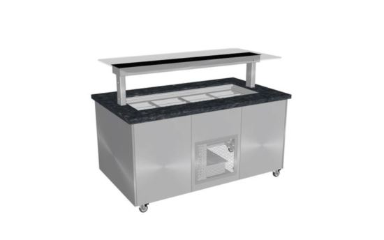 Culinaire CR.IBGS.CWCF.U.GSB.3 Three Module Stone Top and Stainless Steel Panels Refrigerated Island Buffet -Painted Centre Section- No Fixings