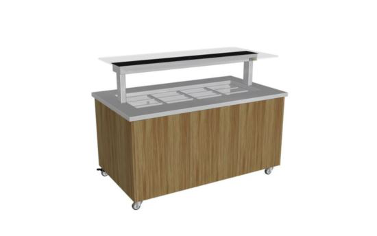 Culinaire CH.IBSJ.BMC.U.GSB.3 Three Module Stainless Steel Top and Joinery Panels Mobile Heated Island Buffet -Painted Centre Section - No Fixings