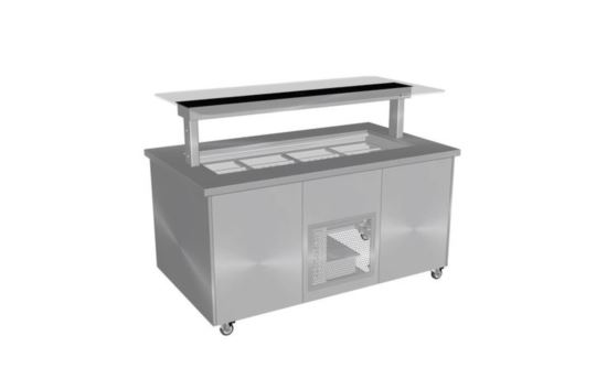 Culinaire CR.IBSS.CWCF.U.GSB.3 Three Module Stainless Top and Stainless Steel Panels Refrigerated Island Buffet -Painted Centre Section- No Fixings