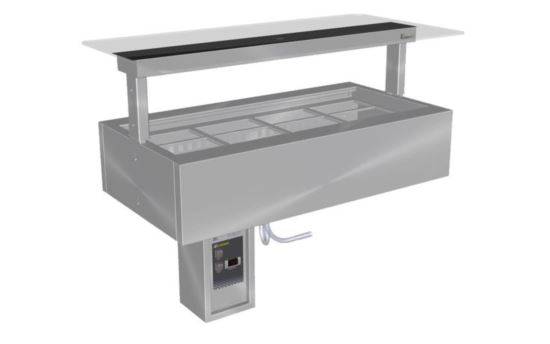Culinaire CR.CWCF.U.RB.GSB.3 Three Module Under Bench Refrigerated Counter Line Self Contained Flat Glass Gantry -Painted Centre Section - No fixings