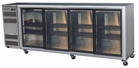 Skope BB780 4SL-RS Stainless Steel Backbar Fridge Four Sliding Doors Remote