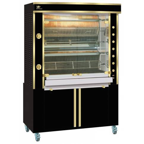 Rotisol 1375.5 MLG 5 Spit Rotisserie - Full black Enamel with Brass Trims (Excludes Base)