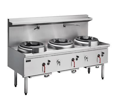 Cobra CW3H-CCD - 1800mm Gas Waterless Wok with 3 Chimney burners and 1 Duckbill burner